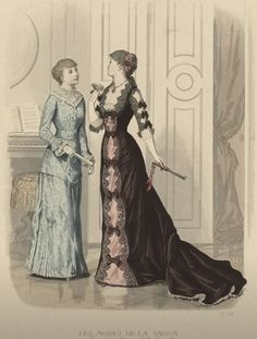 Victorian fashion plate. La Saison 1880. Beautiful embellishment details on the sleeve to match the skirt.