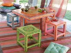 table tabouret roulotte maison du monde
