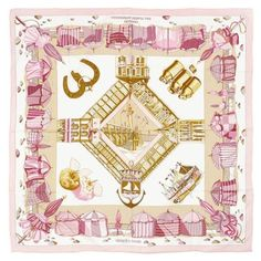 Auth Hermes Paris 70cm Cotton Scarf Charmes Des Plages Normandes Carre (2  655 SEK) ❤ liked on Polyvore featuring accessories, scarves, cotton shawl,  ... 39d6dc7d163