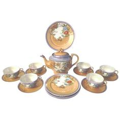 1940s Japanese Floral Lusterware Tea Service - Set of 19 (1.665 DKK) ❤ liked on Polyvore featuring home, kitchen & dining and coffee & tea service