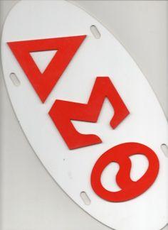 Delta Sigma Theta oval car tag white