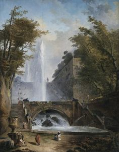 Hubert Robert. Stair and Fountain in the Park of a Roman Villa. ca. 1770.