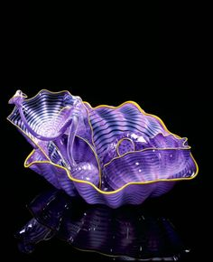 Chihuly | Amparo Purple Seaform Set with Jonquil Lip Wraps, 2000, 7 x 7 x 10""