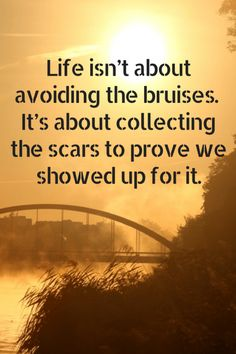 Life isn't about avoiding the bruises, it's about collecting the scars to prove we showed up for it