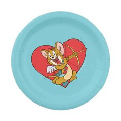 Shop Jerry Mouse Dressed as Valentine Cupid Paper Plate created by tomandjerry.