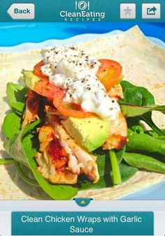 Clean Chicken Wraps with Garlic Sauce. Ingredients: - 2 x Mountain Bread Rye Wraps - Chicken Breast - Handful Lettuce leaves - 2 x cherry. New Recipes, Cooking Recipes, Favorite Recipes, Healthy Recipes, Healthy Foods, Lunch Recipes, Delicious Recipes, Healthy Life, Diet