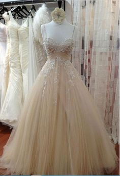 Spaghetti Straps Champagne Prom Dress with Beaded Lace Straps Prom Dresses 3a89bd0955a0