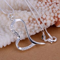 comeon® Jewelry Pendant, Brass, Heart, real silver plated, with cubic zirconia, nickel, lead & cadmium free, 44x38mm,china wholesale jewelry beads