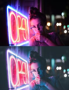 Before & Afters — Brandon Woelfel Neon Photography, People Photography, Amazing Photography, Portrait Photography, Portrait Fotografie Inspiration, Ft Tumblr, Brandon Woelfel, Neon Licht, Night Portrait