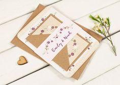 Winter Floral with Pine Cones Wedding Invitation Bundle