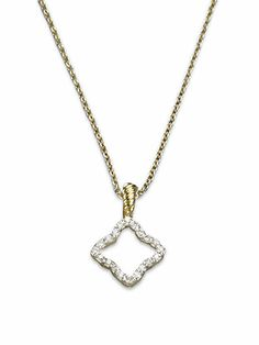 David Yurman - Diamond & 18K Yellow Gold Quatrefoil Necklace - Saks.com