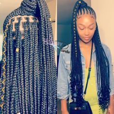 All styles of box braids to sublimate her hair afro On long box braids, everything is allowed! For fans of all kinds of buns, Afro braids in XXL bun bun work as well as the low glamorous bun Zoe Kravitz. Single Braids Hairstyles, Braided Hairstyles For Black Women, African Braids Hairstyles, African American Hairstyles, Weave Hairstyles, Girl Hairstyles, Hairstyles Videos, Black Girl Braids, Braids For Black Hair