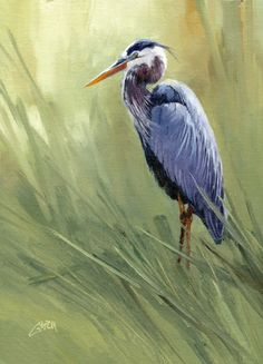Great Blue Heron by Joe Garcia Oil ~ 12 x 9