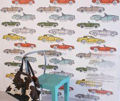 british classic car hand printed wallpaper by sharon jane | notonthehighstreet.com