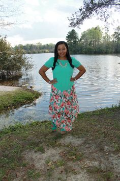 teal and coral floral chiffon skirt from rue21 paired with teal blouse, modest outfit idea