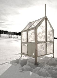 Norwegian architecture studio Gartnerfuglen has designed an interesting take on locally-sourced building materials for an Arctic-ready temporary dwelling. Their mobile ice fishing hut consists of a flatpack wooden framework, with panes for the walls and pitched roof made from chicken wire; instructions for how to do this are not clear, but apparently the ice fisher draws water from the hole they've cut in the ice, applies that water to the chicken wire, and it then freezes into solid panes…