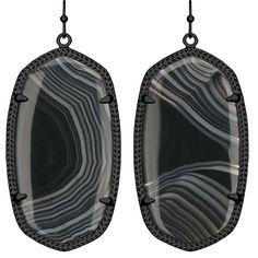 Kendra Scott Danielle Drop Earrings - Black Banded Agate