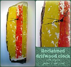 Salvaged driftwood wall clock yellow and red by CBbyClaireHaysley