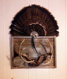 Combination Deer antler turkey fan mount on barnwood. Deer Mount Decor, Antler Mount, Turkey Hunting, Deer Hunting, Hunting Stuff, Turkey Mounts, Turkey Fan, Trophy Display, Deer Mounts