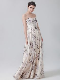 Sweetheart Floral Print Dress; Color: Floral Pattern A; Sizes Available: 2-26W, Custom Size; Fabric: Satin, Organza