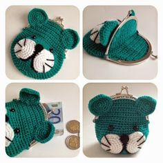 Sweey purse with pic-pac by SweetHandmade Crochet Crochet Round, Bead Crochet, Diy Crochet, Crochet Toys, Crochet Wallet, Crochet Coin Purse, Crochet Purses, Small Crochet Gifts, Crochet Stitches