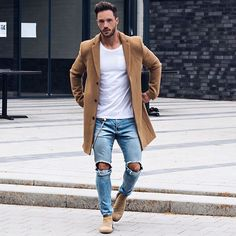 cool coat, outfit would be without ripped jeans better