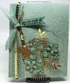 Linda Vich Creates: Stampin' Royalty and Botanicals. Botanical Gardens Vellum graces the front of this Mint Macaron card, embellished with die cut flowers and gold details.