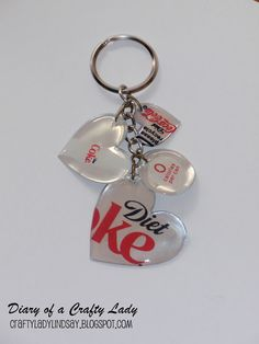 Easy to make key chain from old soda cans (don't buy new like this woman!!! Upcycle/recycle them! You all know someone who drinks the stuff if you don't!).