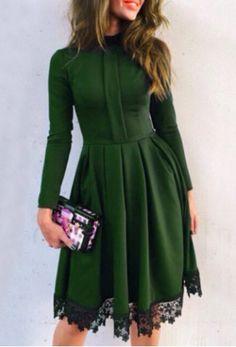 Noble Round Collar Lace Hem Long Sleeve Ruffled Dress For WomenLong Sleeve Dresses   RoseGal.com
