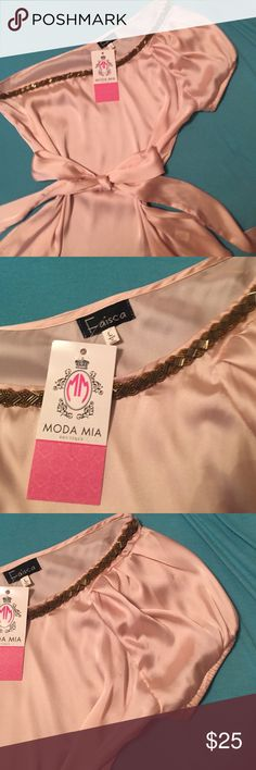 Pretty Light Pink One Shoulder Top W/Jewels &Tie Brand New From Moda Mia Boutique A Pretty Light Pink Left Shoulder Top W/Jewels Across Neckline & Tie At Waist! 53% Cotton & 47% Polyester...Hand Wash Is Fine... Faisca Tops Blouses
