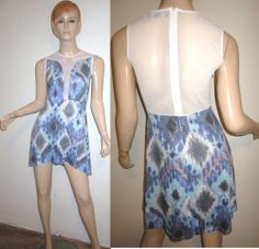 FOR LOVE & LEMONS LULU Ikat Geometric Paint Print Sheer Party Skater Dress XS....http://stores.shop.ebay.com/vintagefluxed