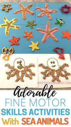 Toddler Fine Motor Skills Activities: Star Fish Decorating Summer Activities For Toddlers, Summer Fun For Kids, Toddler Activities, Motor Skills Activities, Sensory Activities, Fine Motor Skills, Preschool Learning, Learning Activities, Toddler Crafts