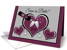 Save the Date Custom Name Hearts and Champagn card