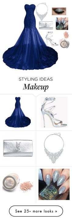 """""""Navy and Silver Formal"""" by immi-clark on Polyvore featuring Dsquared2, Yves Saint Laurent and Swarovski"""