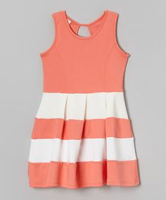 Another great find on #zulily! Light Coral & White Stripe Skater Dress - Girls by Sinai Kids #zulilyfinds