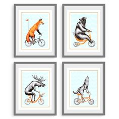 Four prints set, forest animals on bicycle: fox, bear, moose and wolf riding orange bicycles Canadian Animals, Kiwi Bird, Gouache Painting, Canadian Artists, Forest Animals, Animal Paintings, Illustration, Gallery Wall, Etsy