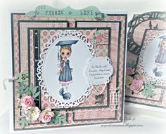 Saturated Canary Grad Girl card with box by Vicki @ paperliciousoasis