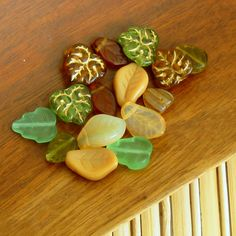 Glass leave bead mix assortment beige and green colors via Etsy