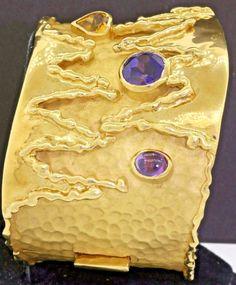 Cetas vintage heavy 18K gold gemstone hand hammered abstract bangle bracelet  | eBay