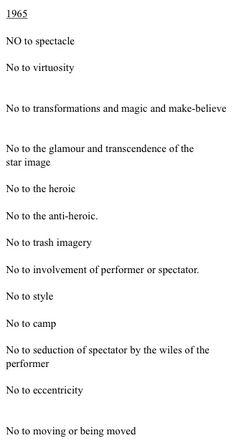 "yvonne rainer ""no manifesto"" 1965"
