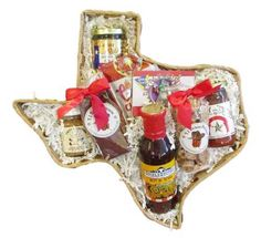 Give a bit of Texas with this Texas shaped food gift basket filled with Texas made foods to family, friends or business associates. Free shipping