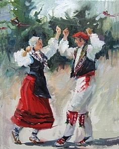 Dance Paintings, Fashion Themes, Basque Country, Native American Tribes, Spanish Lessons, Figure Painting, Red And White, Spain, Old Things