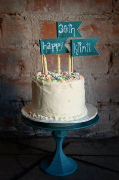 diy cake topper idea - use red paper to make flags