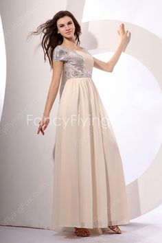 fancyflyingfox.com Offers High Quality Modest Scoop Neckline Short Sleeves A-line Ankle Length Champagne Pageant Dresses With Silver Sequined  ,Priced At Only US$158.00 (Free Shipping)
