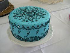 blue henna cake paisley turquoise aqua