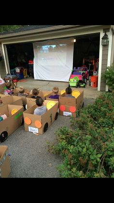 Make the basic cars out of cardboard boxes and then let the kids decorate them. When dark, park the cars and enjoy the movie. Don't forget to go to the snack stand for treats!!!
