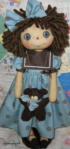 Seems appropriate for Memorial Day to have Sailor Annie SOLD her little teddy was made from an old brown sweater her . Girl Dolls, Baby Dolls, Homemade Dolls, Raggedy Ann And Andy, Bear Doll, Sewing Dolls, Waldorf Dolls, Stuffed Toys Patterns, Fabric Dolls