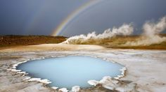 Blue Spring and Rainbow, Hveravellir, Iceland