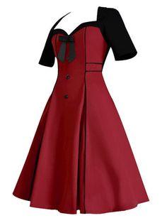 Vintage Bowknot Short Sleeve V Neck Women Dresses