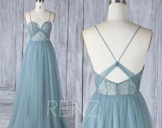 Bridesmaid Dress Dusty Blue Tulle Wedding Dress,Spaghetti Straps Prom Dress,Sweetheart Illusion Lace Maxi Dress,A Line Long Ball Gown(HS523)
